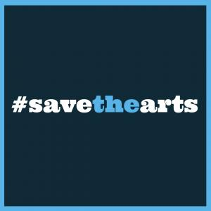 Save the Arts Instagram image in blue