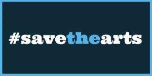 Save the Arts Twitter banner in blue