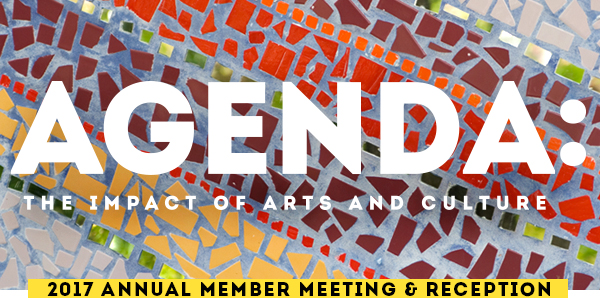 Bold, white text that says 'AGENDA: The Impact of Arts and Culture' on a colorful mosaic background