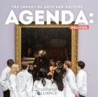 The cover of our Agenda: Wellness publication. The cover reads Agenda: Wellness and has 5 physician assistant students looking at the painting of the Gross Clinic at the Pennsylvania Academy of the Fine Arts.